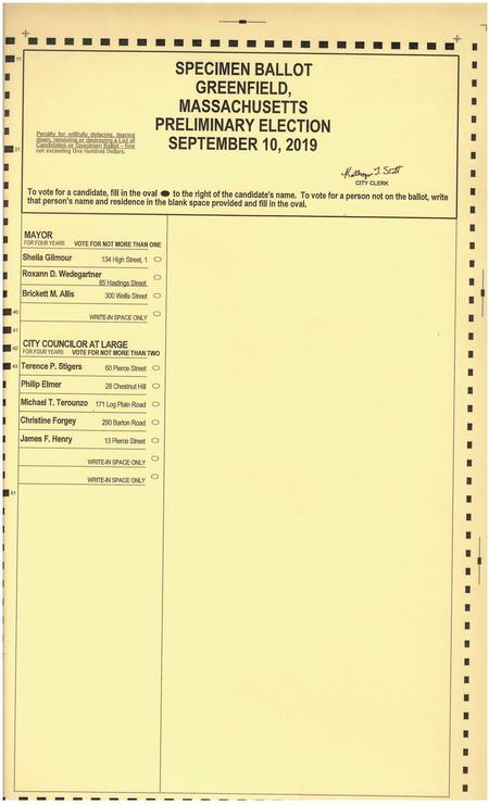 City of Greenfield Local Preliminary Election, Tue, Sep 10