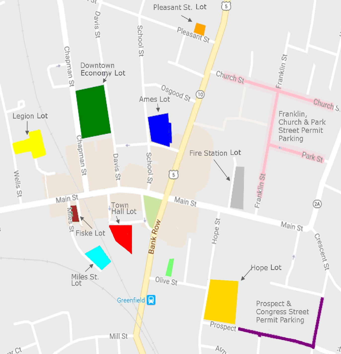 Downtown Greenfield Parking Map - Town of Greenfield, MA
